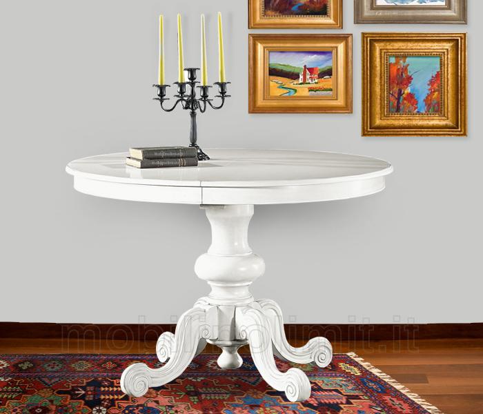 Classico tavolo da pranzo shabby chic bianco rotondo for Tavolo da pranzo classico