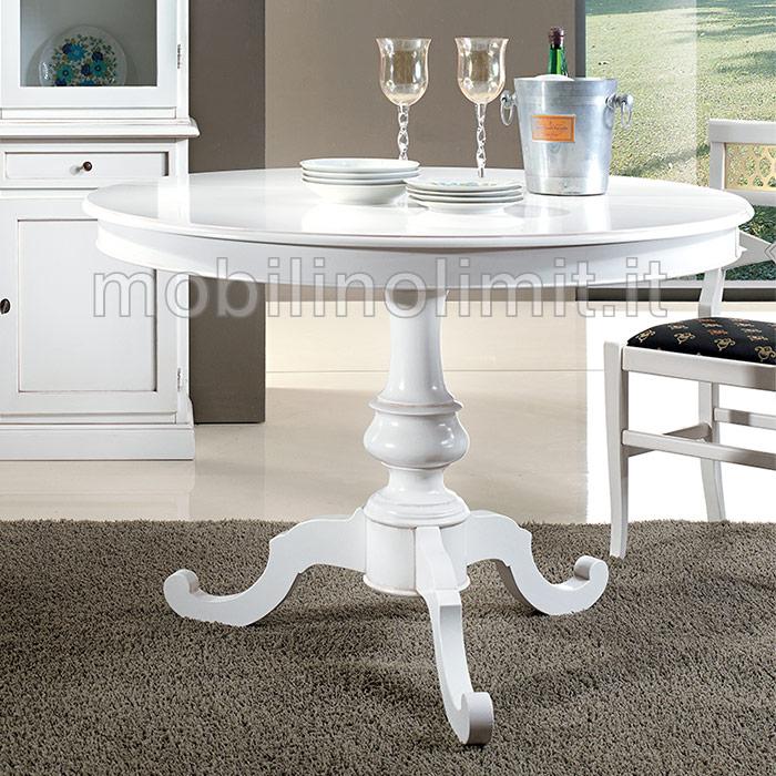 Tavolo rotondo allungabile bianco spigolato 100 for Tavolo bianco rotondo allungabile
