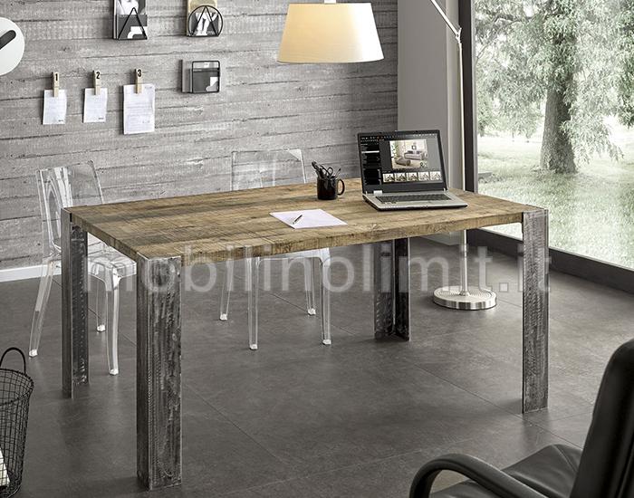 Tavolo industrial con piano in rovere patina grigia for Tavolo rovere grigio