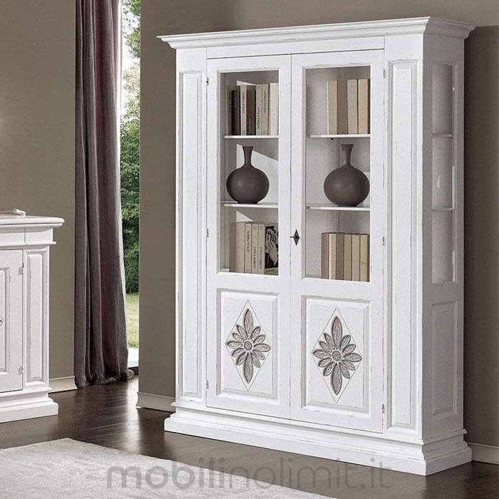 shabby con intagli 2 ante - bianca e argento - Vetrina Soggiorno Bianca 2