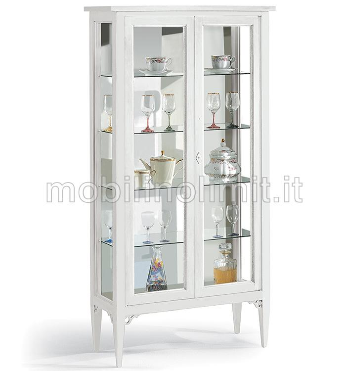 Vetrina Vetro Due Ante Oregina : Vetrina spillo bianca opaco con ante in vetro