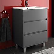 mobile bagno moderno con piedini l 60 grigio opaco