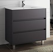 mobile bagno moderno con lavabo l 80 grigio opaco