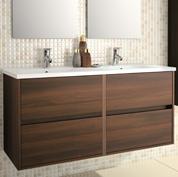 Mobile bagno sospeso con doppio lavabo - L.120 - Grigio Opaco