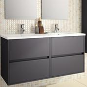 mobile bagno sospeso con doppio lavabo l120 grigio opaco
