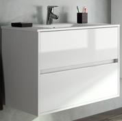 mobile bagno moderno con lavabo l80 bianco lucido